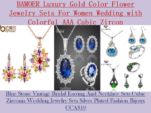 Knowledge,gold,flower,jewelry,women,wedding,colorful,blue stone,fashion