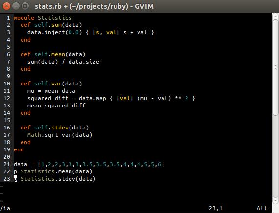 Gvim delete line example