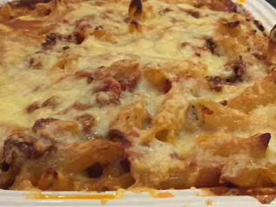 Bolognese Bake with cheese melted on the top