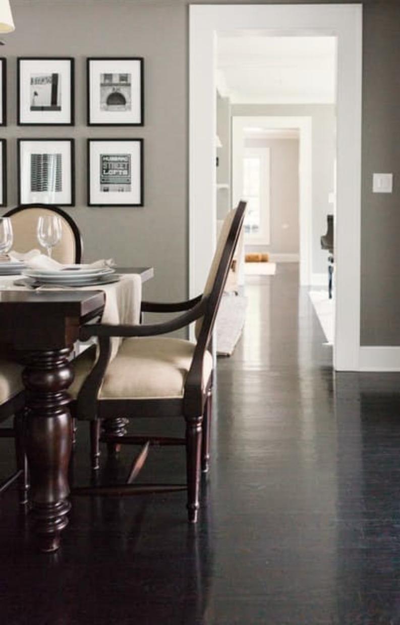 Modern farmhouse elegant dining room with grey walls on Hello Lovely Studio