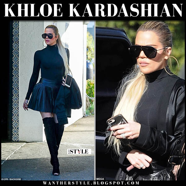 Khloe Kardashian in black high neck top, black leather ralph lauren mini skirt and black gianvito rossi marie thigh boots celebrity outfit november 30