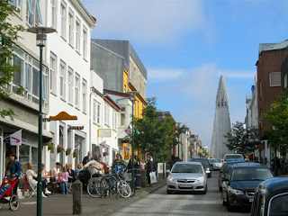 Downtown Reykjavik Iceland Midnight Summer
