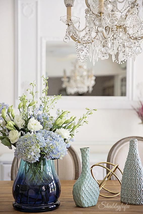 blue vases french farmhouse style