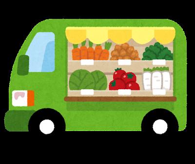 移動販売車のイラスト(野菜)