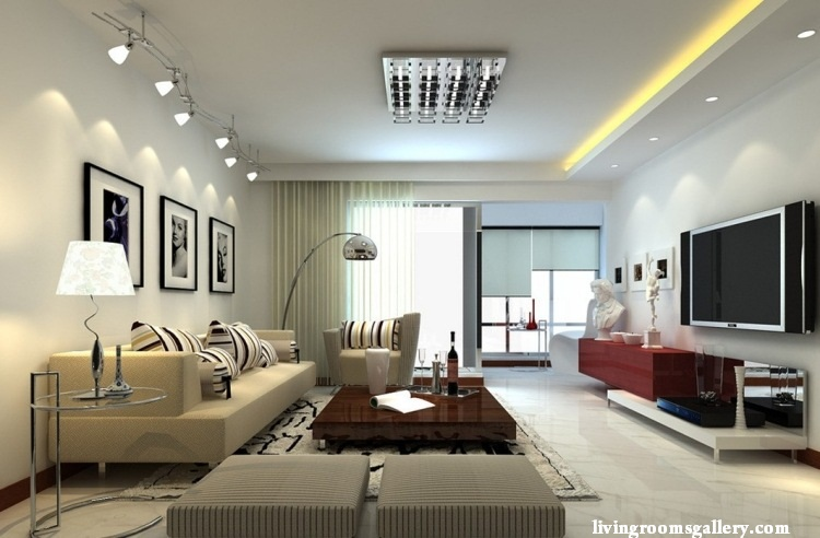 25 pop false ceiling designs with led ceiling lighting for Living room overhead lighting