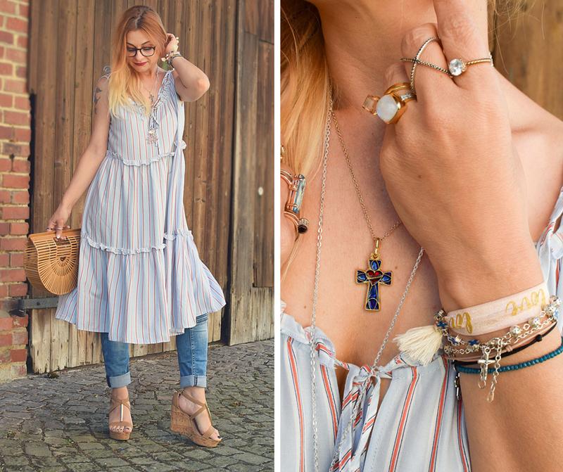 Fashion Look mit Kleid über Hose, Kleid zu Hose tragen