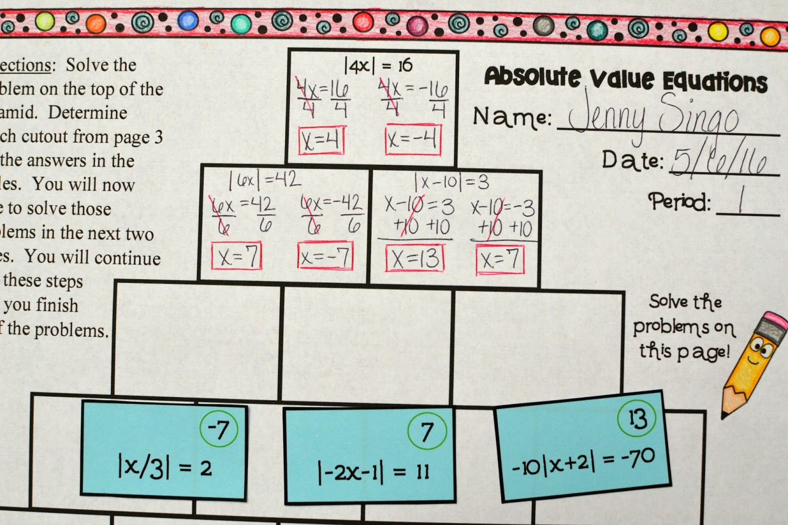 Absolute Value Distance Worksheet