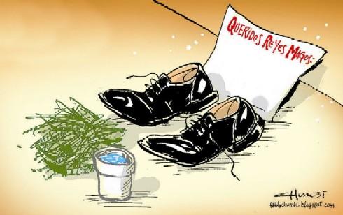 new style 27b04 b94eb Otra tradición explica que los zapatos se colocan cerca del pesebre, los  Reyes frente al Niño Dios y se deja pasto y agua cerca para alimentar a los  ...