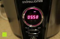 Zeit: Andrew James 3,5L Sizzle to Simmer 2 in 1 Digitaler Schongarer mit Entnehmbarer Aluminiumbratpfanne – Zum Braten, scharf Anbraten, Sautieren und Dämpfen – 2 Jahre Garantie