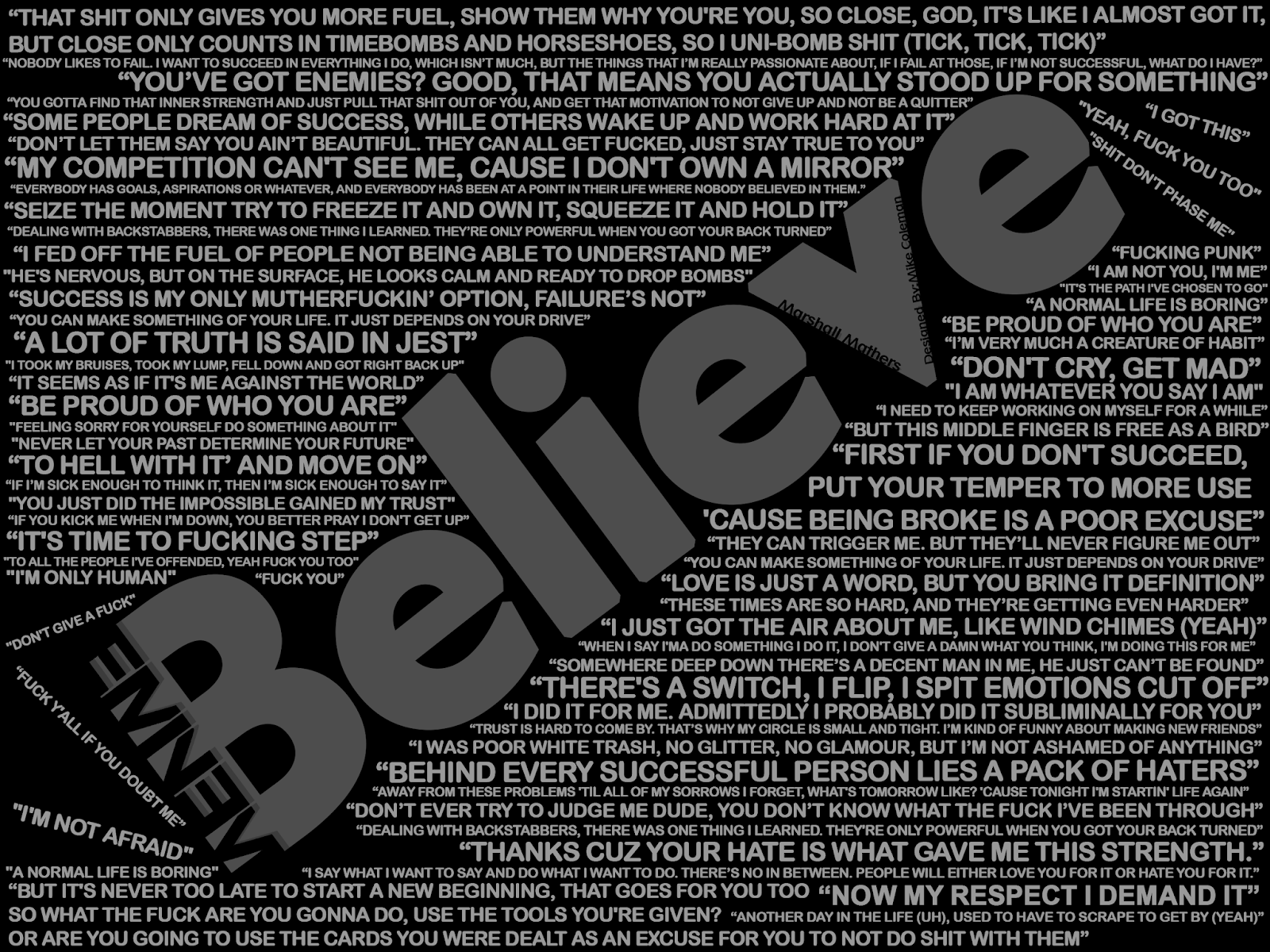 Eminem Believe with black background