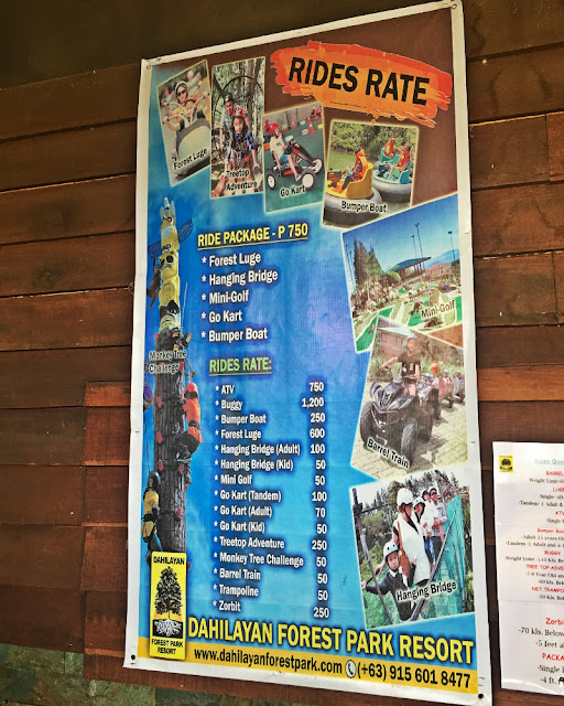 Dahilayan Forest Park Ride Rates