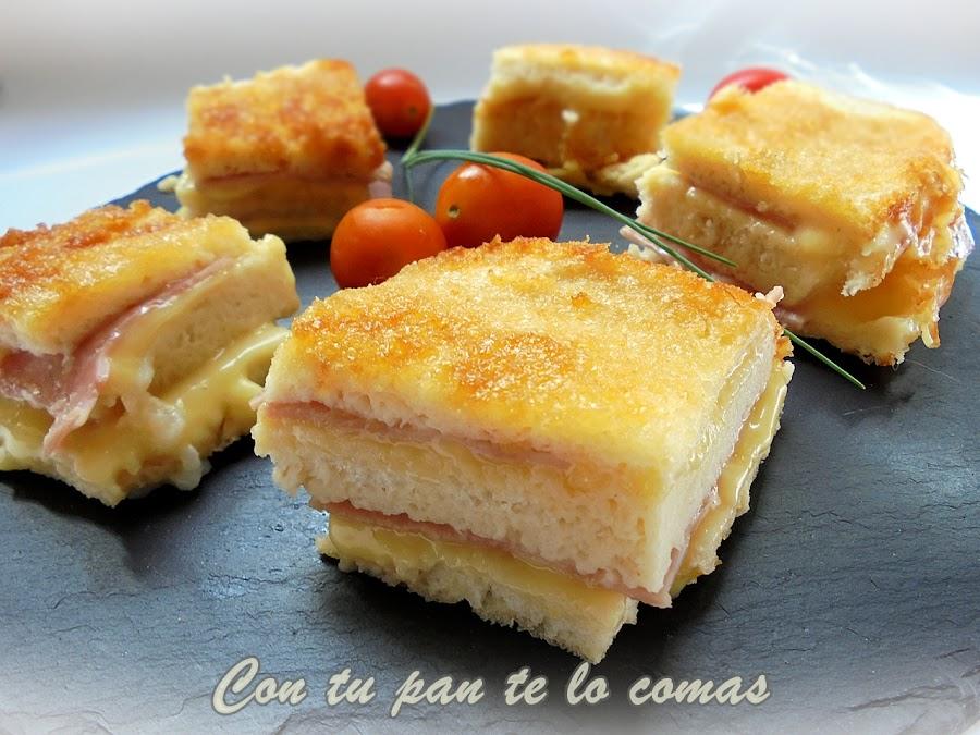 Pastel de pan de molde, jamón y queso