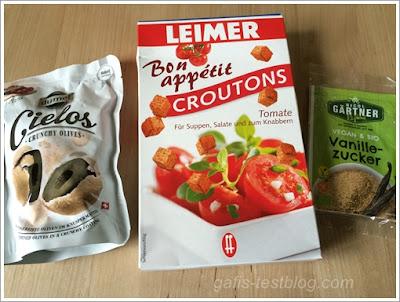 Dumet Cielos Crunchy Olives, Leimer Croutons Tonate, Nicol Gärtner Vanillezucker