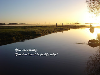 Image of sunrise over boat on a river in the countryside with text: You are worthy, you don't need to justify why!