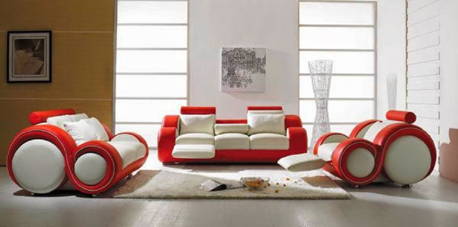Charmant Vig Contemporary Red White Leather Recliner Sofa Set