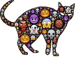 A cat made up of different Halloween-themed symbols, such as pumpkins and ghosts