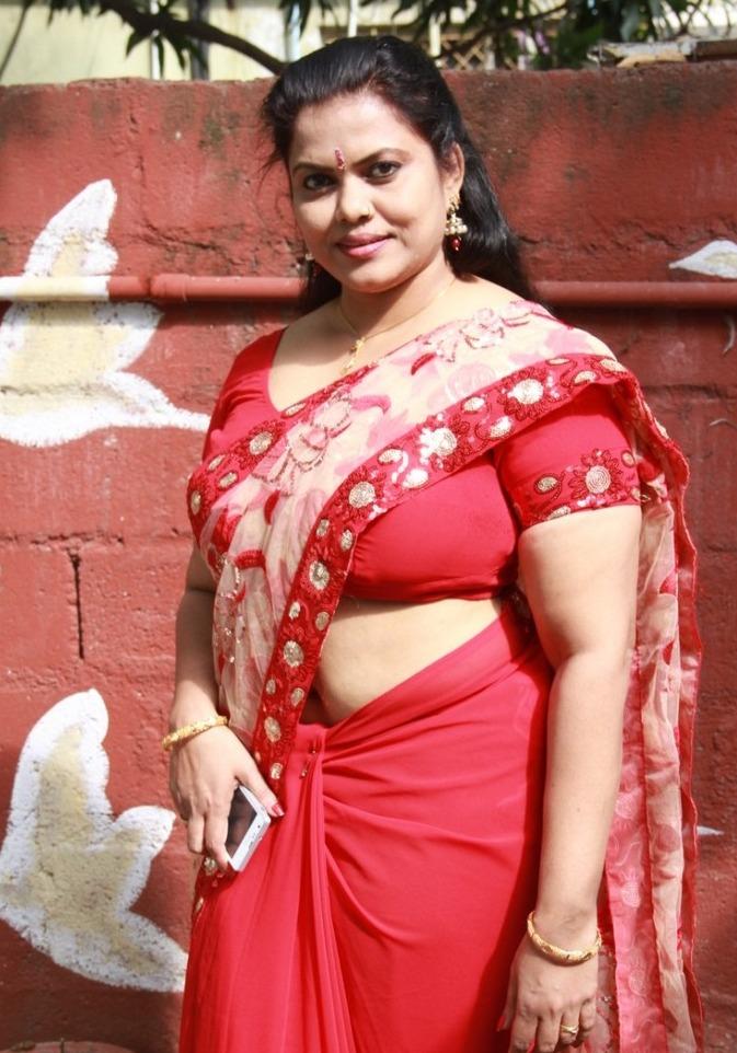Minu Kurian Aunty In Red Saree Photos Tamil Actress