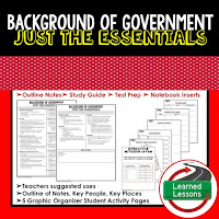 Background to Government Outline Notes, Civics Test Prep, Civics Test Review,Civics Study Guide, Civics Summer School Outline, Civics Unit Reviews, Civics Interactive Notebook Inserts
