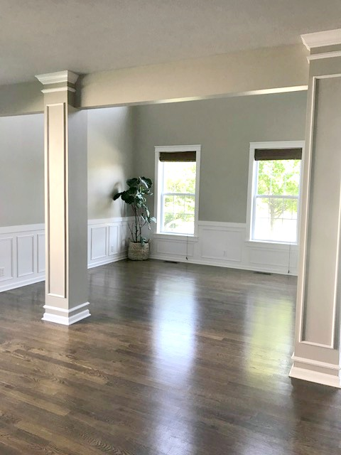 White wainscoting on walls