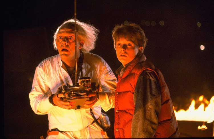 Doc Brown and Marty McFly experience time travel in Back to the Future.