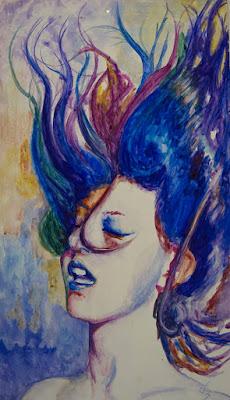 Cuadro en colores vivos de mujer
