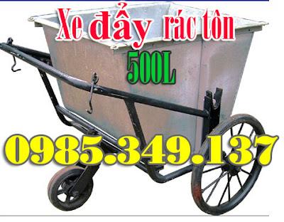 xe đẩy rác tôn 500 lít