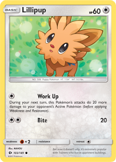 Lillipup Sun and Moon Pokemon Card