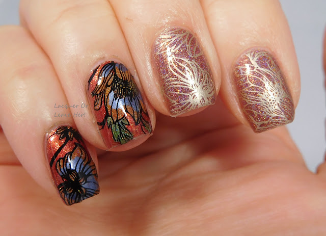 LynBDesigns Pliny The Elder + Zoya Channing + UberChic Beauty 13-03 + Messy Mansion stamping polishes