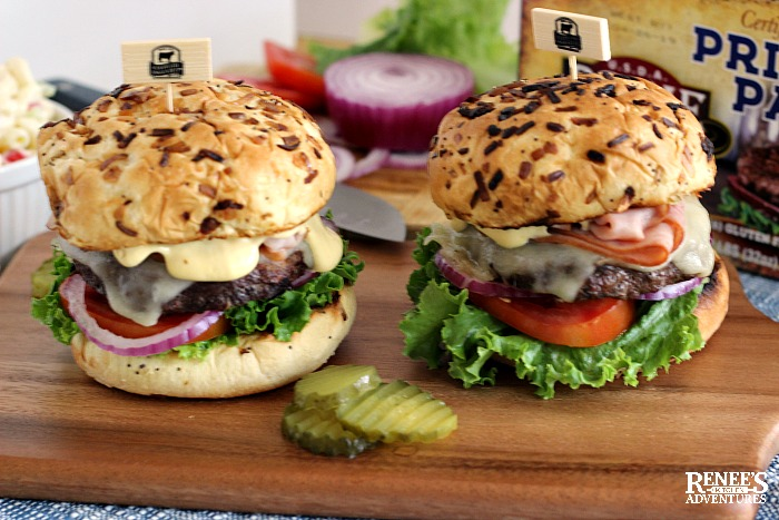 Cordon Bleu Burgers on wooden board