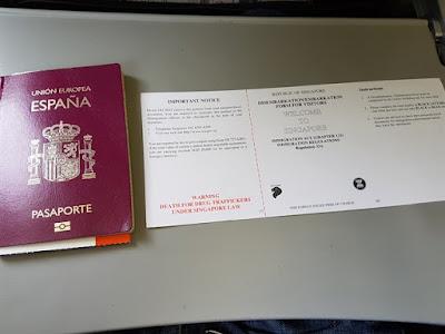 Tarjeta de inmigración para entrar en Singapur