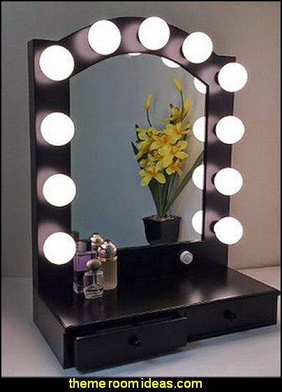 Hollywood Posh Lighted Make-up Vanity Back Stage Mirror Black