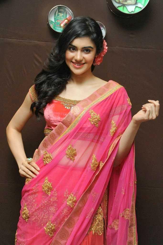 Beautiful Telugu Girl Adah Sharma Long Hair Stills In Transparent Pink Saree