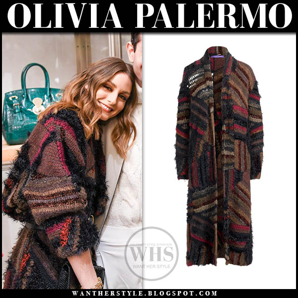 Olivia Palermo in knit patchwork coat cardigan winter style january 16