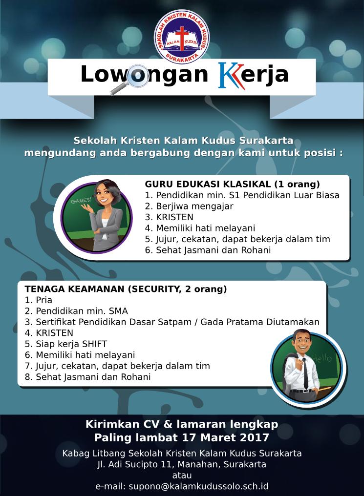 Lowongan Kerja di Sekolah Kristen Kalam Kudus - Surakarta (Security & Guru Edukasi Klasikal)