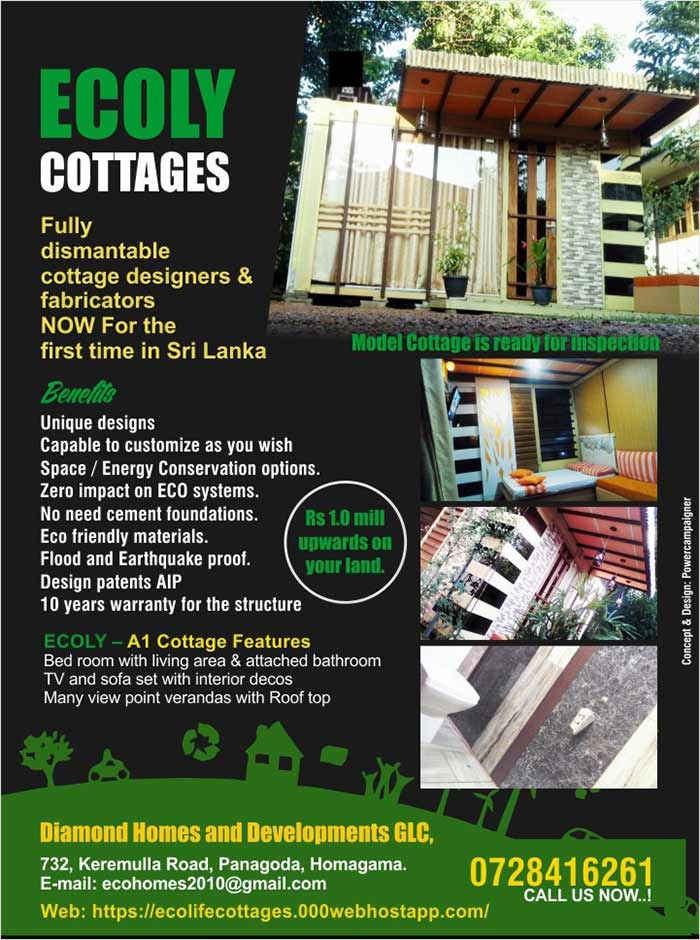 Ecoly Cottages - Fully dismantable cottage designers & fabricators NOW for the first time in Sri Lanka.