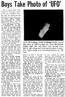 Boys Take Photo of UFO - The Daily River (Flat River,  Missouri), 3-30-1966