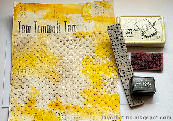 Layers of ink - Yellow Textured Background Tutorial by Anna-Karin Evaldsson. Stamp the background.