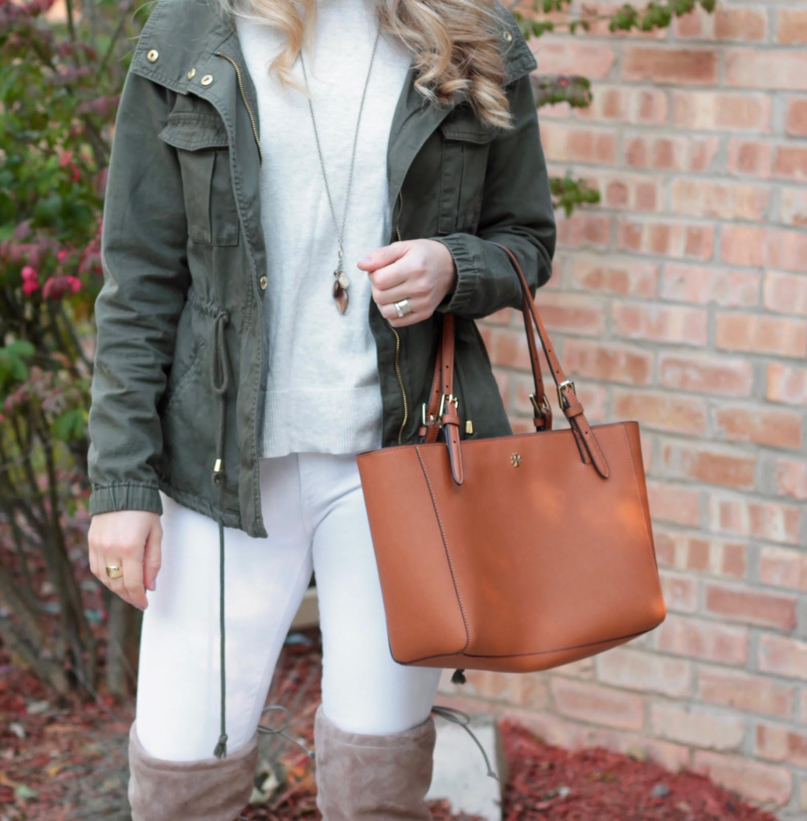 off white sweater, white jeans, OTK taupe boots, tory burch tote, military jacket, field jacket, utility jacket, casual fall outfit with white jeans