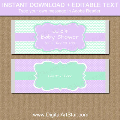 printable girl baby shower candy bar wrappers in lavender and mint chevron
