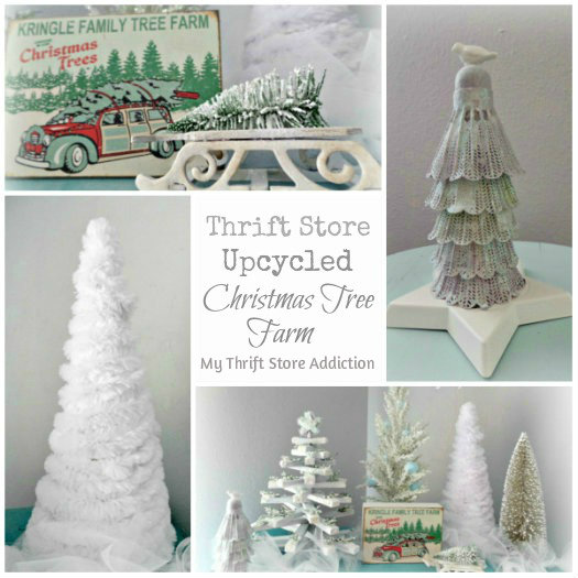 A Thrift Store Christmas Tree Farm mythriftstoreaddiction.blogspot.com Upcycle old thrift store finds, clearance ornaments and DIY tulle garland to create this wintry Christmas tree farm