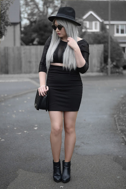 Sammi Jackson - Primark Black Fedora / Zaful Sunglasses / Fashion 71 Mesh Cutout Dress / Oasap Quilted Flap Bag / Topshop Alexy Boots