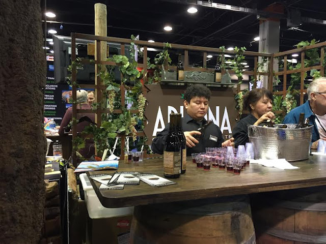 Wine tasting in the Arizona section of the Travel and Adventure Show.