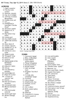 The New York Times Crossword in Gothic: 04.12.11 — Far Out