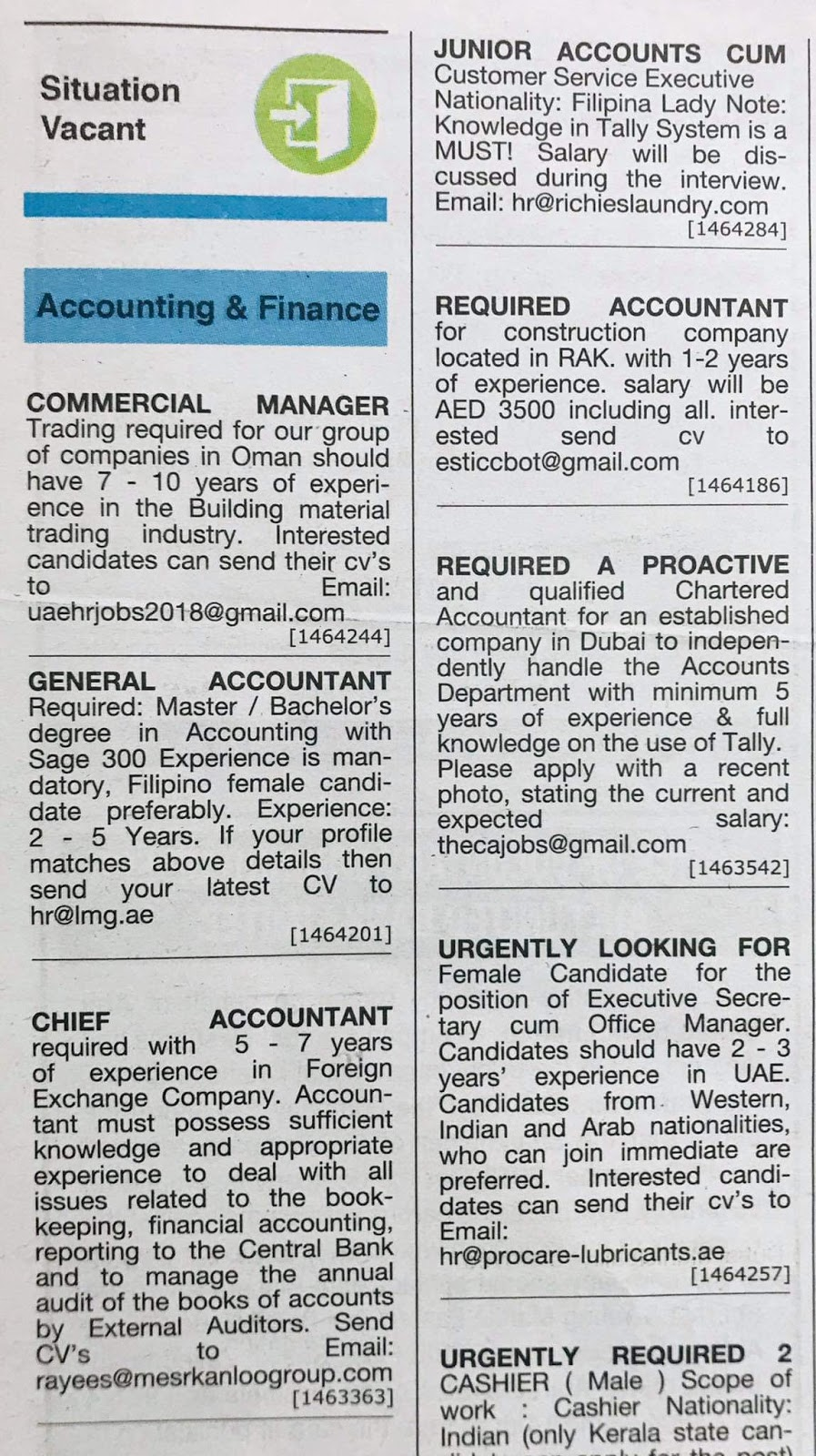 Required Multiple Positions Local Hiring Jobs Khaleej Times