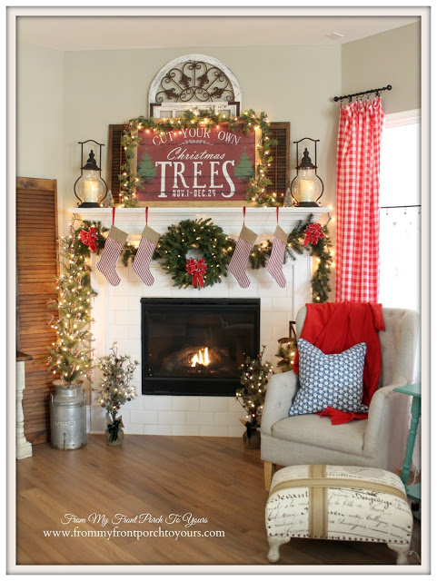 Christmas- Farmhouse-Mantel-Red Gingham Curtains-Cottage Style-From My Front Porch To Yours