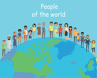 Clipart Image of People of the World Standing on a Globe