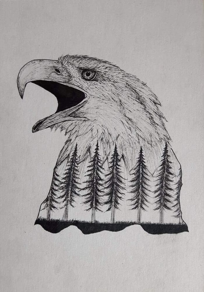 05-Bold-Eagle-mARTin-Black-and-White-Stippling-Animal-Drawings-www-designstack-co