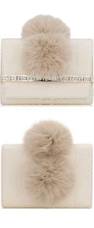 Jimmy Choo Bow White Python Clutch Bag Fox Pom Poms