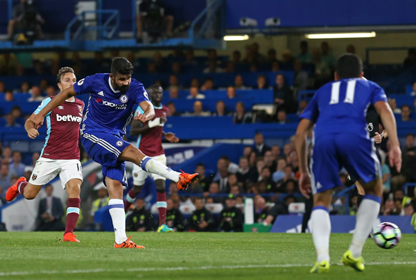 Diego Costa push himself once more into the features with a 89th-minute victor as Chelsea edged West Ham United 2-1 in Antonio Conte's first Premier League diversion as supervisor on Monday.