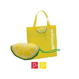 Bolsas plegables economicas forma de limón.